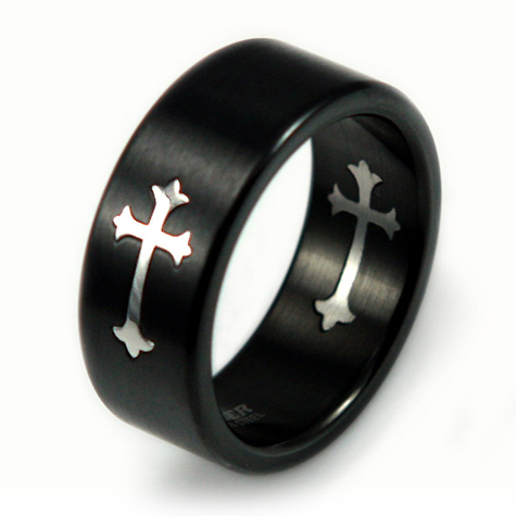 Black-Plated Stainless Steel 9mm Cross Ring