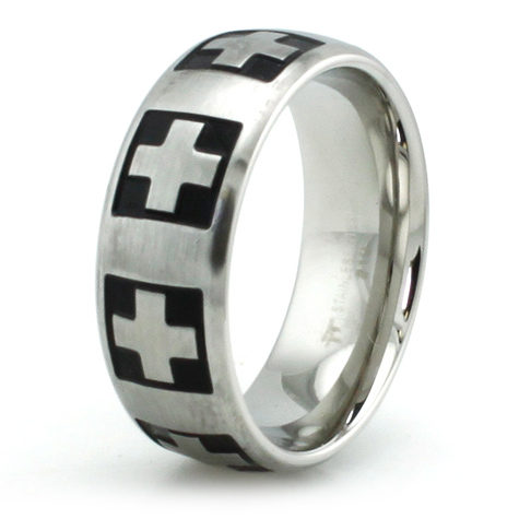 Stainless Steel 8mm Swiss Cross Ring