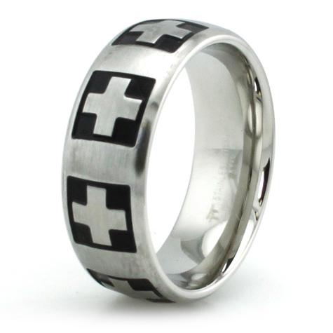 Stainless Steel 8mm Swiss Cross Ring