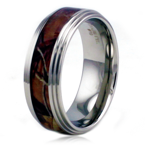 Stainless Steel 8mm Camo Ring with Step Down Edges