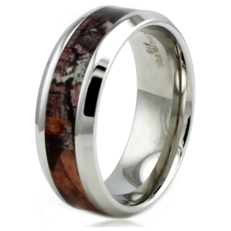 Stainless Steel 8mm Camo Ring with Beveled Edges