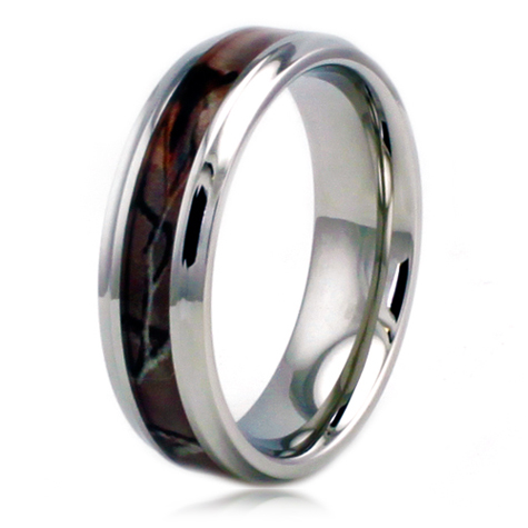 Stainless Steel 6.5mm Camo Ring with Step Down Edges
