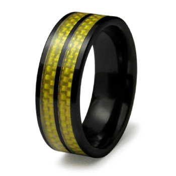 Black Ceramic 8mm Ring Yellow Carbon Fiber Inlays