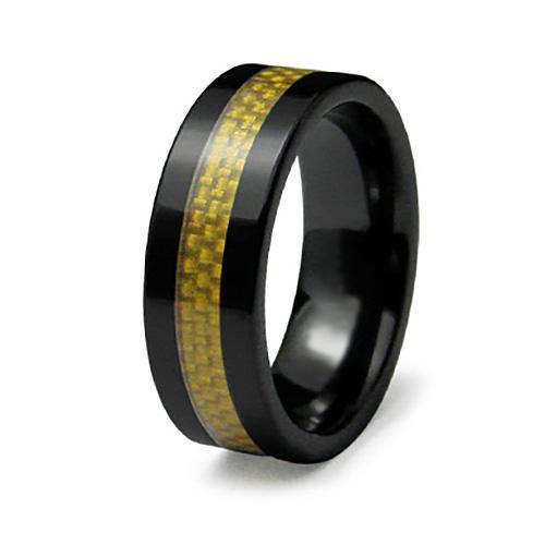 8mm Ceramic Ring Yellow Carbon Fiber Inlay