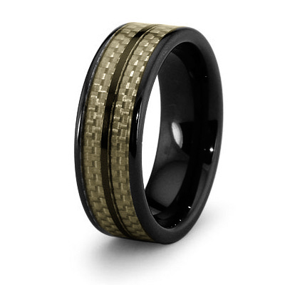8mm Black Ceramic Ring with Carbon Fiber Inlays