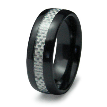 Black Ceramic 8mm Polished Ring with Carbon Fiber Inlay