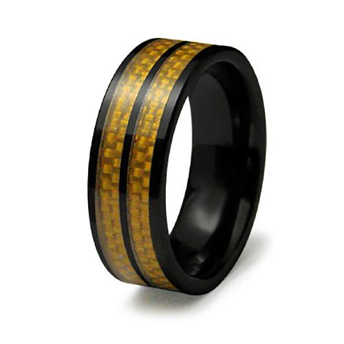 8mm Ceramic Ring Gold Carbon Fiber Inlays