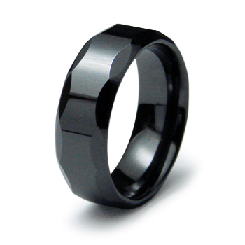 Black Ceramic 8mm Ring with Facets