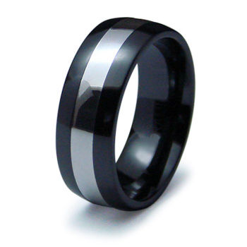 Black Ceramic 8mm Ring with Sterling Silver Inlay