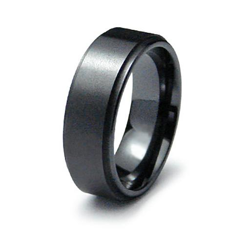 Black Ceramic 8mm Brushed Ring with Ridged Edges
