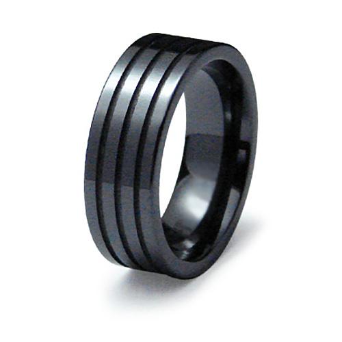 Black Ceramic 8mm Ring Triple Grooved