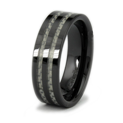 8mm Ceramic Ring with Thin Carbon Fiber Inlays