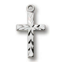 Sterling Silver 1/2in Scalloped Cross 18in Necklace