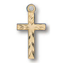 Gold Filled 1/2in Scalloped Cross 18in Necklace