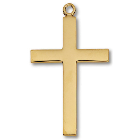 Gold Plated 1 1/2in Lord's Prayer Cross 24in Necklace