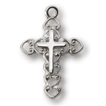 Sterling Silver 5/8in Filigree Cross 18in Necklace
