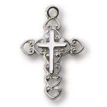 Sterling Silver 5/8in Filigree Cross 18in Necklace