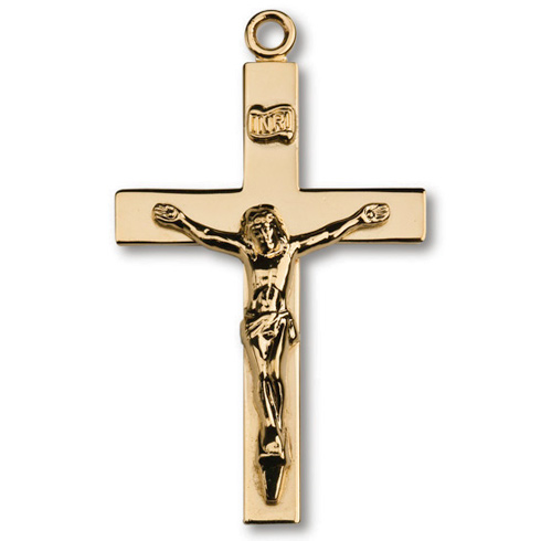 18kt Gold Plated 1 1/2in Lord's Prayer Crucifix 24in Necklace