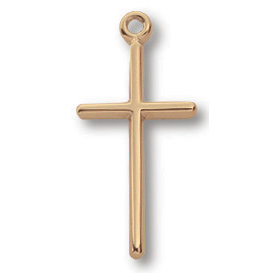 Gold Filled 3/4in Stick Cross 18in Necklace