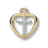 18kt Yellow Gold Plated 3/8in Heart Cross 16in Necklace