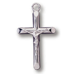 Sterling Silver 11/16in Modern Crucifix 18 inch Necklace