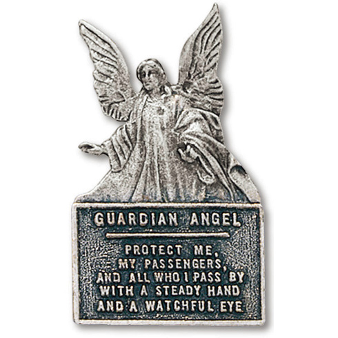 Guardian Angel Prayer Pewter Visor Clip Set of Two
