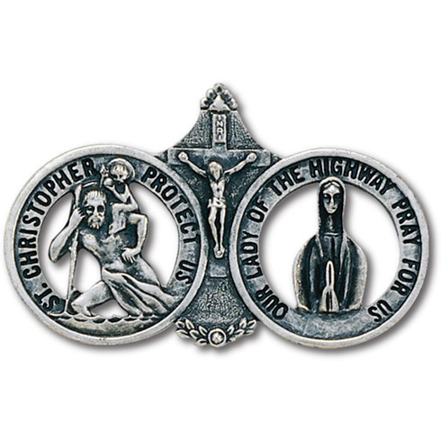 Pewter St. Christopher and Our Lady Visor Clip Set of Two
