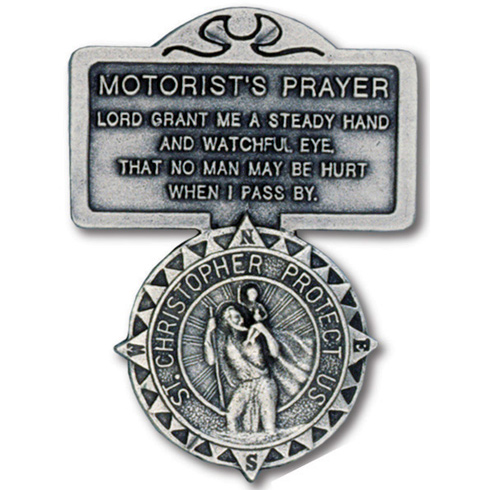 Pewter St. Christopher Motorist's Prayer Visor Clip Set of Two