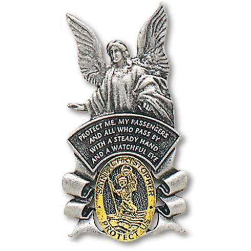 Pewter Guardian Angel with St. Christopher Visor Clip Set of Two