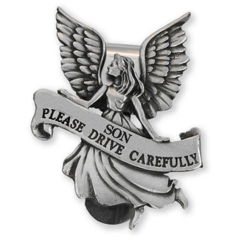 Guardian Angel Pewter Visor Clip for Sons Set of Two