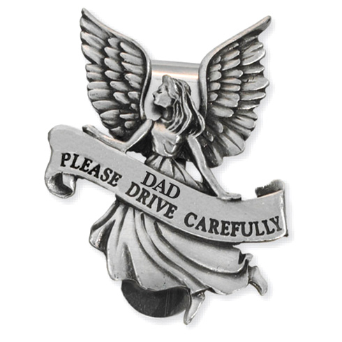 Guardian Angel Pewter Visor Clip for Dads Set of Two