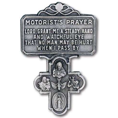 Pewter Four Way Cross Motorist's Prayer Visor Clip Set of Two