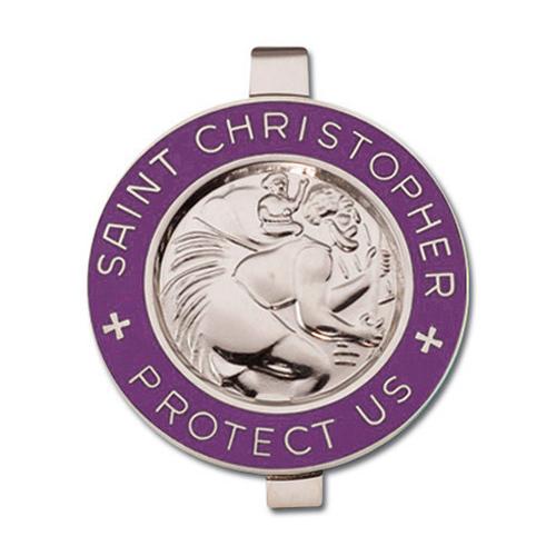 St. Christopher Purple Enameled Visor Clip Set of Two