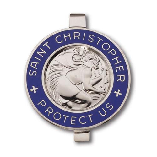 St. Christopher Blue Enameled Visor Clip Set of Two