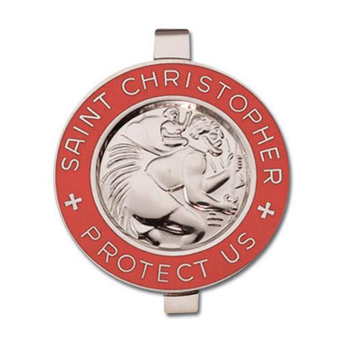 St. Christopher Red Enameled Visor Clip Set of Two