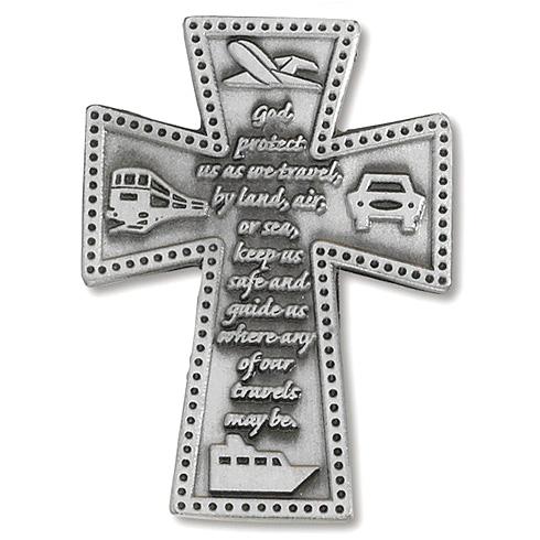 Traveler's Prayer Cross Pewter Visor Clip Set of Two