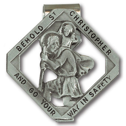Pewter St. Christopher Cut-Out Visor Clip Set of Two