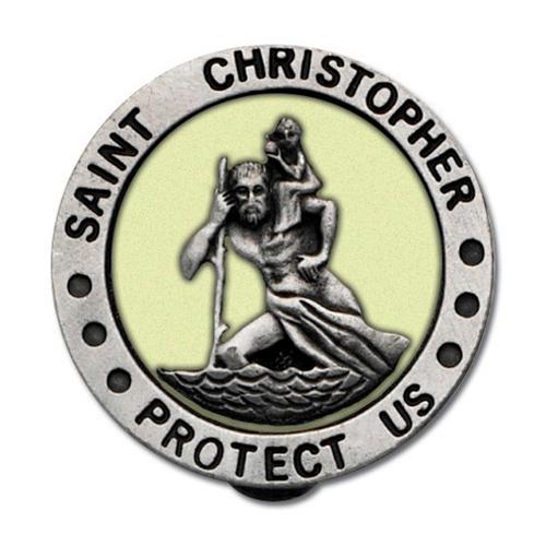Pewter St. Christopher Luminous Visor Clip Set of Two