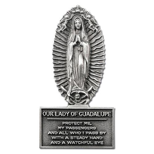 Pewter Guadalupe Motorist's Prayer Visor Clip Set of Two