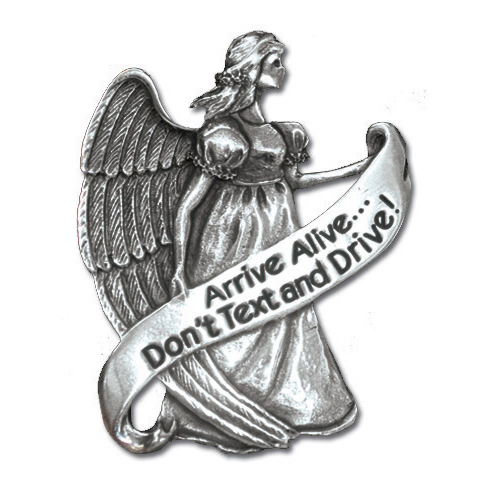 Guardian Angel Pewter Visor Clip Don't Text Set of Two