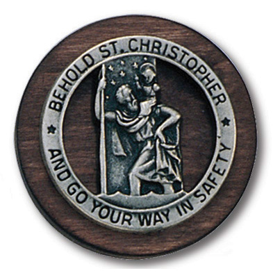 Wood and Pewter Saint Christopher Visor Clip Set of Two