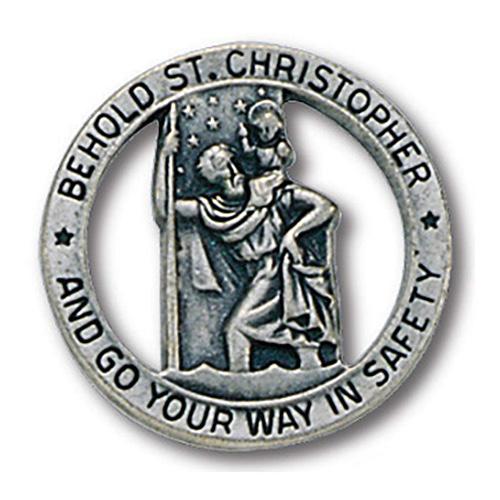 Round Pewter Saint Christopher Visor Clip Set of Two