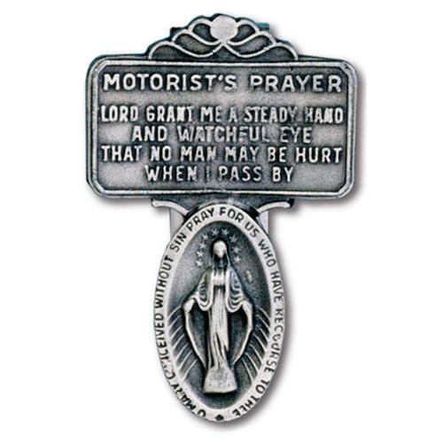 Pewter Miraculous Medal Motorist's Prayer Visor Clip Set of Two