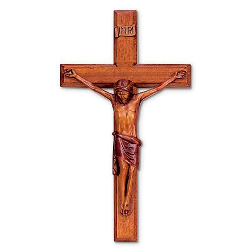 16in Beveled Mahogany Wall Crucifix