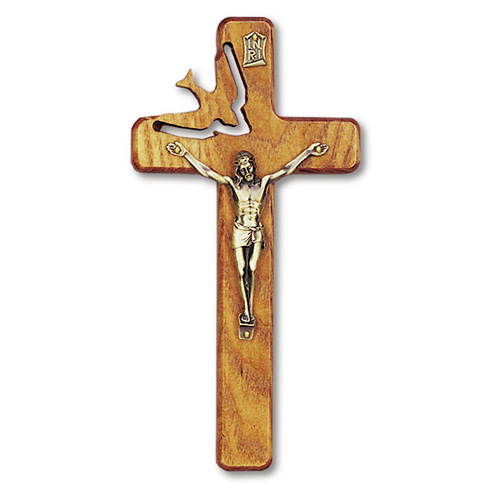 8in Walnut Wood Wall Crucifix with Dove Cut-out