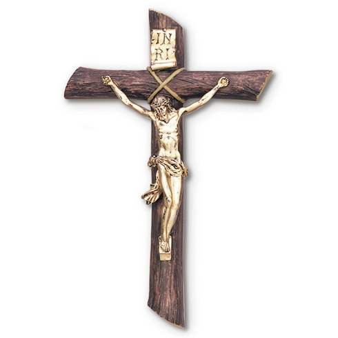 9in Natural Style Wall Crucifix with Gold Colored Corpus