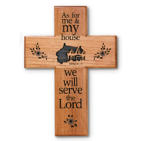 8in As For Me & My House Mahogany Wood Wall Cross