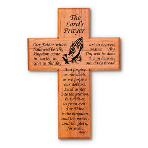 Mahogany Wood 8in Lord's Prayer Wall Cross