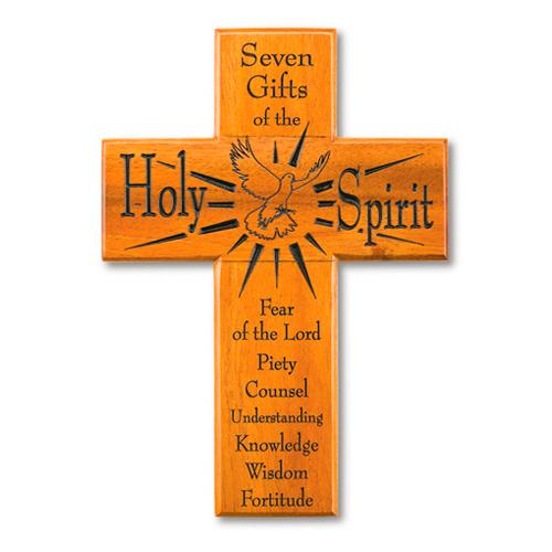 8in Seven Gifts Mahogany Wood Wall Cross