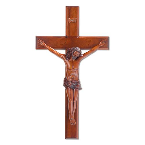24in Beveled Mahogany Wall Crucifix